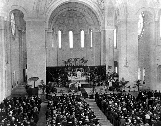 The unfinished interior of the Basilica of St. Mary in Minneapolis on Easter 1915, five months before its dedication. The parish is celebrating the dedication centennial Aug. 16. Courtesy the Basilica of St. Mary.