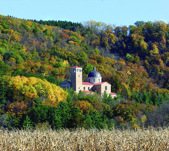 The new Shrine of Our Lady of Guadalupe is nestled among trees on a bluff located south of La Crosse, Wis. (CNS /courtesy of the Shrine of Our Lady of Guadalupe)