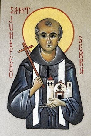 Blessed Junipero Serra is written in this icon by local iconographer Kati Ritchie of St. Bonaventure in Bloomington in celebration of the 18th-century Spanish priest's Sept. 23 canonization. See related story at right. Dave Hrbacek/The Catholic Spirit