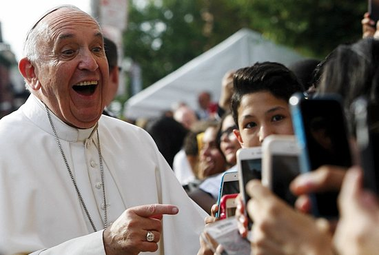 Pope Francis arrives at Our Lady Queen of Angels School in the East Harlem area of New York Sept. 25. CNS