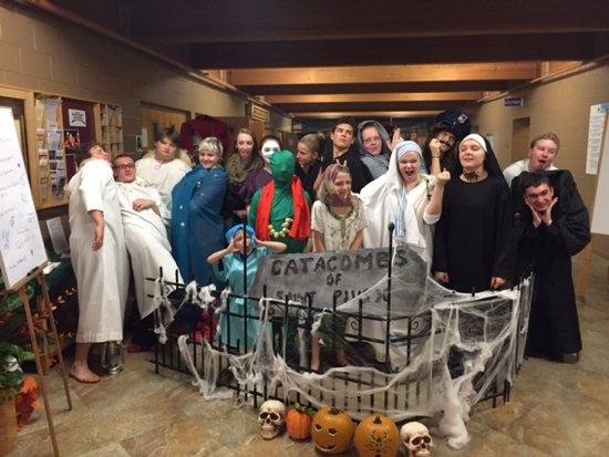 Students in faith formation at St. Pius X in White Bear Lake dress like saints Oct. 28 for the parish's catacomb tour event. Courtesy St. Pius X