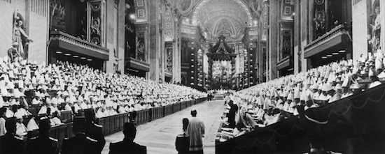 Bishops of the world line the nave of St. Peter's Basilica during the opening session of the Second Vatican Council Oct. 11, 1962. Catholic News Service