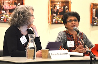 Mental health professionals Amanda Richards (left) and Niloufer Merchant answer frequently asked questions during the first segment of a four-part series on responding to abuse at the Basilica of St. Mary in Minneapolis.