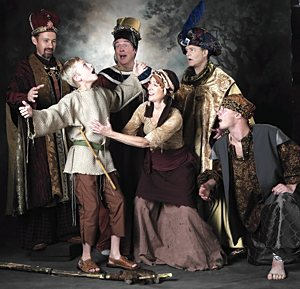 """From left, Christopher Fast (King Melchoir), Vincent VanHatten (Amahl), Rich Kubista (King Balthazar), Peg Janisch (Amahl's mother), Andy Elfenbein (King Kasper) and, kneeling, Joshua Vosberg (the page) in a scene from """"Amahl and the Night Visitors."""" Courtesy Joe McDonald"""