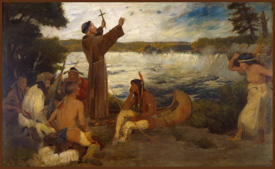 """Father Hennepin Discovering the Falls of St. Anthony"" by Douglas Volk, c. 1905. Courtesy the State of Minnesota"