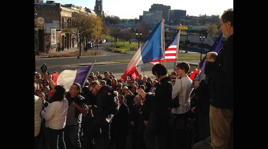 French flags are joined with the U.S. flag on the steps of the Basilica of St. Mary in Minneapolis, which hosted an interfaith Prayer for Peace service in response to terrorist attacks in Parish and elsewhere. Terri Ashmore/Courtesy the Basilica of St. Mary