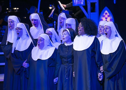 "Regina Marie Williams is terrific in the stage version of ""Sister Act,"" taking the part played by Whoopi Goldberg in the movie version. The musical runs through February at the Chanhassen Dinner Theatres. Photos by Heidi Bohnenkamp, 2015."