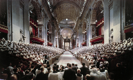 18 cutline opening Pope John XXIII leads the opening session of the Second Vatican Council in St. Peter's Basilica at the Vatican Oct. 11, 1962. A total of 2,540 cardinals, patriarchs, archbishops and bishops from around the world attended the opening session. CNS/Giuliani