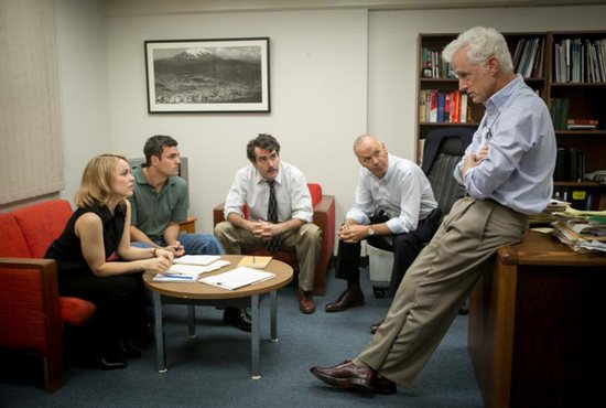 "Rachel McAdams, Mark Ruffalo, Brian d'Arcy James, Michael Keaton and John Slattery star in a scene from the movie ""Spotlight,"" which chronicles the Boston Globe's uncovering of the clergy sex abuse scandal in the Archdiocese of Boston in 2002. CNS photo/Open Road Films"
