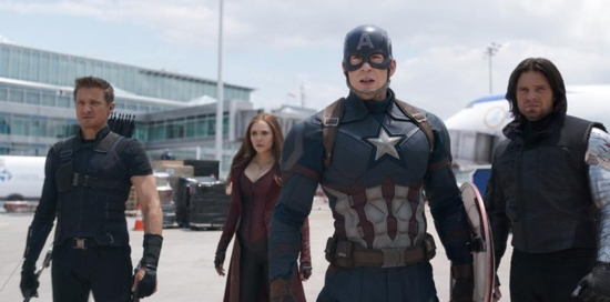 "Jeremy Renner, Elizabeth Olsen, Chris Evans and Sebastian Stan star in a scene from the movie ""Marvel's Captain America: Civil War."" The Catholic News Service classification is A-III -- adults. The Motion Picture Association of America rating is PG-13 -- parents strongly cautioned. Some material may be inappropriate for children under 13. CNS photo/Disney"