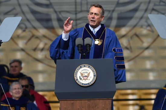 Former House Speaker John Boehner delivers an address after receiving the Laetare Medal during the 2016 commencement ceremony May 15 at Notre Dame Stadium in Indiana. (CNS photo/Barbara Johnston, University of Notre Dame) See NOTRE-DAME-LAETARE May 16, 2016. CNS photo/Barbara Johnston, University of Notre Dame)\