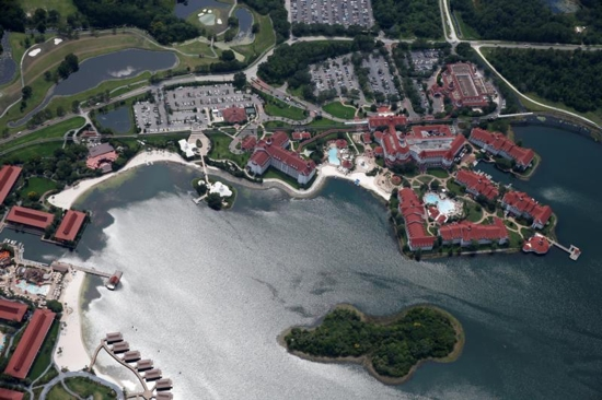 An aerial view of the Grand Floridian is seen June 15 after 2-year-old Lane Graves was dragged by an alligator into the lagoon the previous evening at the Walt Disney World resort in Orlando, Fla. The boy's body was found that day. The Graves family belongs to St. Patrick's Catholic Parish in Elkhorn, Neb. CNS photo/Adrees Latif, Reuters