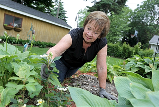 Judy Glenn of St. Joseph in Rosemount works in the garden of her Lakeville home. It's one of her favorite ways to stay active. Dave Hrbacek/The Catholic Spirit