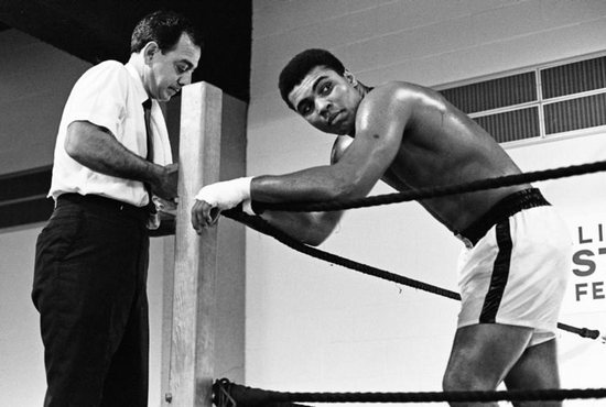 Boxing legend Muhammad Ali is seen in a 1967 photo with his trainer Angelo Dundee ahead of his fight with Ernie Terrell at the Astrodome in Houston. Ali died June 3 at age 74 after a long battle with Parkinson's disease. CNS photo/Action Images, MSI via Reuters