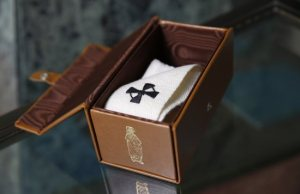 An archbishop's pallium is pictured in its leather box in Rome June 29. After celebrating Mass June 29 for the feast of Sts. Peter and Paul and blessing the palliums, Pope Francis privately gave them to archbishops appointed in the past year. The archbishops will officially receive their palliums from a Vatican nuncio in their archdiocese. CNS photo/Paul Haring