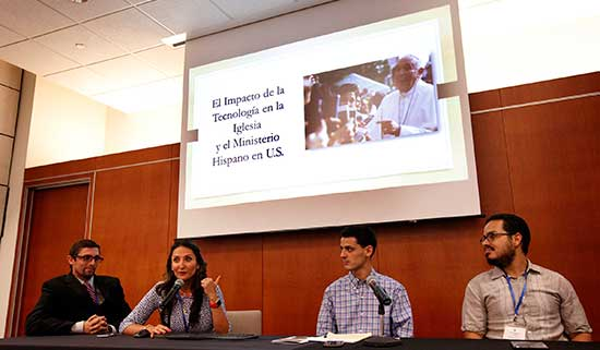 Speakers discuss technology on a panel June 25 during the National Catholic Council for Hispanic Ministry's annual meeting at Catholic Theological Union in Chicago. This year's conference marked the 25th anniversary of the national organization. CNS/Karen Callaway, Catholic New World