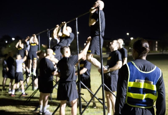 Clergy members from a various faith traditions participate in physical training exercises at Fort Jackson in Columbia, S.C., in March as part of their training to become Army chaplains. CNS photo/Chaz Muth
