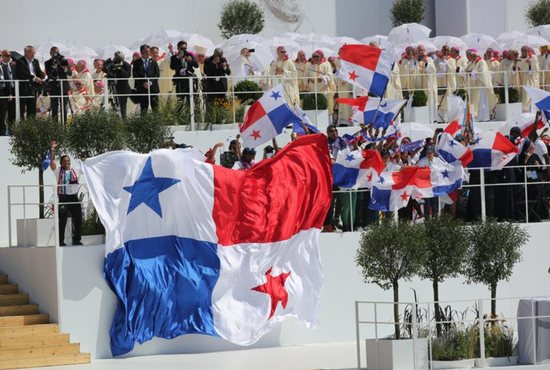 Panamanian flags are seen after Pope Francis celebrated the World Youth Day closing Mass July 31 at the Field of Mercy in Krakow, Poland. Pope Francis announced that Panama will host World Youth Day in 2019. CNS photo/Bob Roller