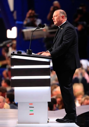 Msgr. Kieran Harrington, vicar of communications for the Diocese of Brooklyn, N.Y., delivers the invocation July 18 during the first day of the 2016 Republican National Convention in Cleveland. CNS photo/Tannen Maury, EPA