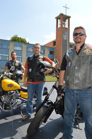 Matt Goreczny, Chris Wolfgong and Robert Burneisen, front right, pictured in an Aug. 4 photo, are founding members of the Pennsylvania Chapter of Knights on Bikes. CNS photo/Mary Solberg, FaithLife