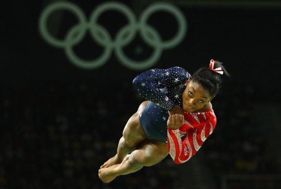 U.S. gymnast Simone Biles, a Catholic, competes on the floor exercise during the Summer Olympics in Rio de Janeiro Aug. 7. CNS photo/Mike Blake, Reuters