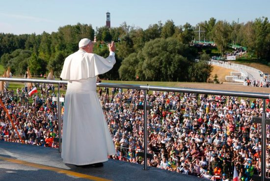 Pope Francis greets the crowd as he visits the Divine Mercy Shrine in Lagiewniki, a suburb of Krakow, Poland, July 30. CNS photo/Paul Haring