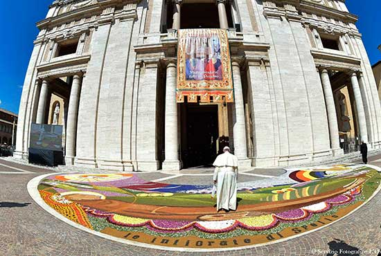 Pope Francis enters the Basilica of St. Mary of the Angels in Assisi, Italy, Aug. 4. CNS/L'Osservatore Romano