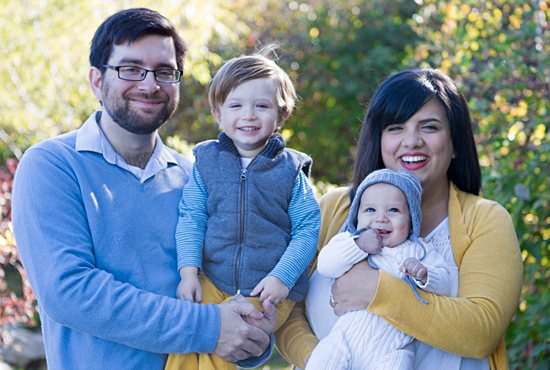 Parishioners of St. Agnes in St. Paul, Jacqui Skemp and her husband, Ian, pose for a family photo with their two sons. In addition to her blog, she writes for the Catholic online ministry Blessed Is She. Courtesy Jacqui Skemp