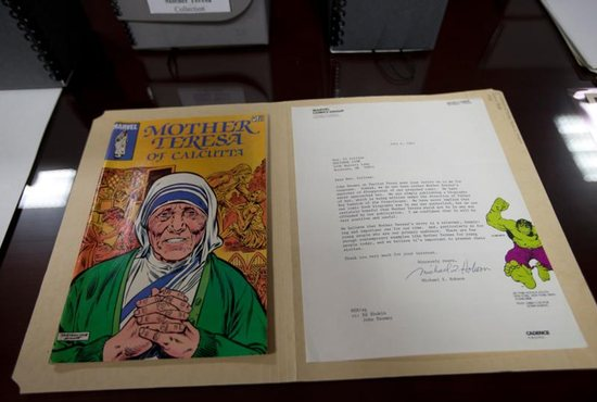 A comic book about Blessed Teresa of Kolkata published by Marvel Comics in 1983 is seen at The Catholic University of America in Washington Aug. 30. CNS photo/Tyler Orsburn