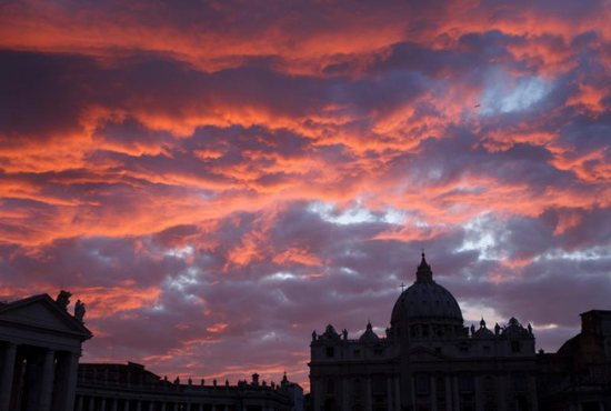 St. Peter's Basilica is seen during sunset in Rome in this Oct. 20, 2011, file photo. Pope Francis has approved revised norms for the Congregation for Saints' Causes regarding medical consultations on healings alleged to be miracles. CNS photo/Paul Haring