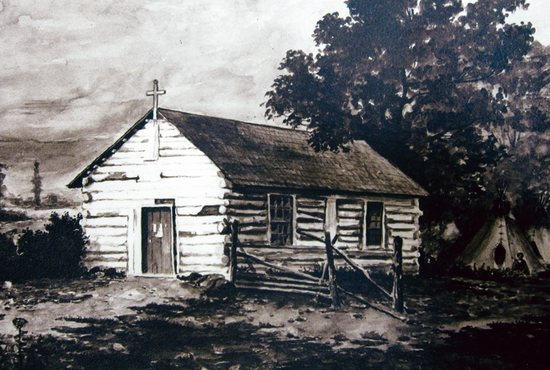 A log cabin built in 1841 served as the first cathedral in the Archdiocese of St. Paul and Minneapolis. It was called the Chapel of St. Paul and housed the Cathedral's first parishioners. Courtesy Cathedral of St. Paul