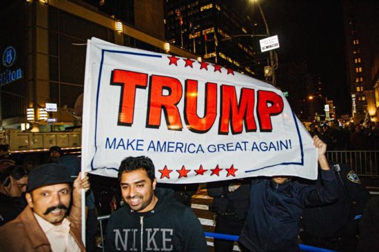 Supporters of President-elect Donald Trump are seen in New York City Nov. 8. CNS photo/Alba Vagary, EPA