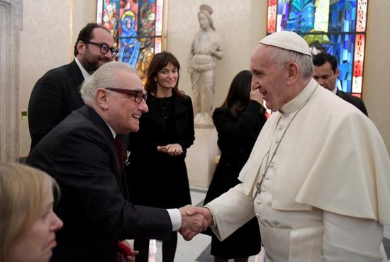 "Pope Francis meets U.S. film director Martin Scorsese during a Nov. 30 private audience at the Vatican. The meeting took place the morning after the screening of his film, ""Silence,"" for about 300 Jesuits. CNS photo/L'Osservatore Romano, handout)"