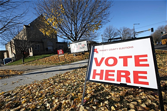A sign directs St. Paul residents in Ramsey County to cast their votes at Holy Spirit in St. Paul. Dave Hrbacek/The Catholic Spirit