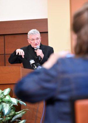 Bishop David Zubik of the Pittsburgh Diocese addresses