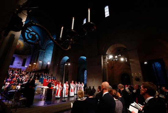 Pope Francis attends an ecumenical prayer service at the Lutheran Lund cathedral, Sweden