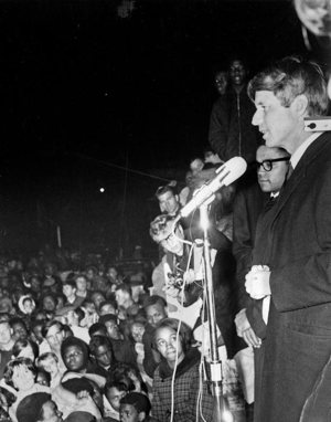 Robert F. Kennedy delivers an April 4, 1968, speech in Indianapolis announcing that the Rev. Martin Luther King had been assassinated in Memphis