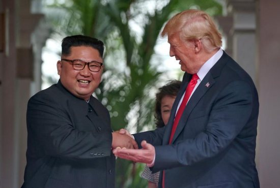 North Korean leader Kim Jong Un and U.S. President Donald Trump meet at the Capella Hotel on Sentosa island in Singapore June 12.