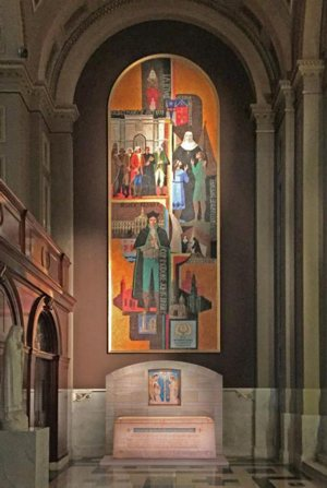 An artist's rendering shows the design of St. Katharine Drexel's tomb and its location at the rear of the Cathedral Basilica of SS. Peter and Paul in Philadelphia.