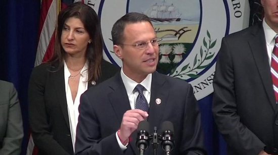 In a screen grab taken from video, Pennsylvania Attorney General Josh Shapiro speaks during an Aug. 14 news conference to release a grand jury on a months-long investigation into abuse claims spanning a 70-year period in the dioceses of Harrisburg, Pittsburgh, Scranton, Allentown, Greensburg and Erie.