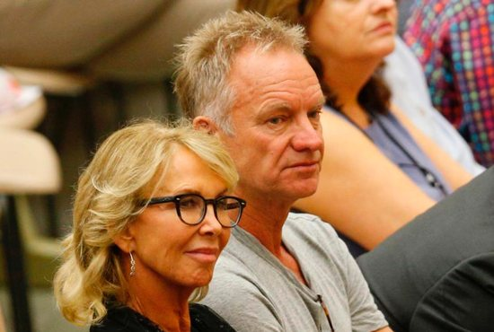 English singer Sting, accompanied by his wife Trudie Styler, attends Pope Francis' general audience