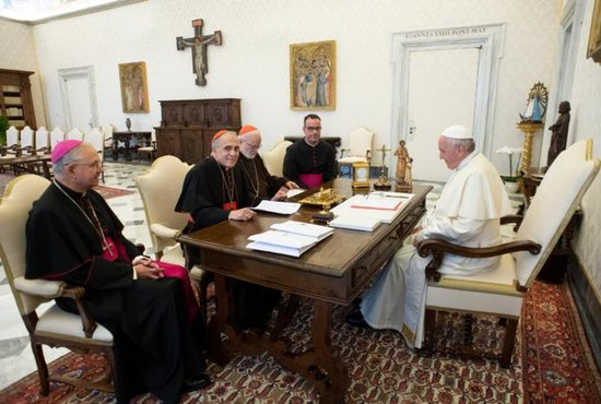 Pope Francis meets with officials representing the U.S. Conference of Catholic Bishops at the Vatican Sept. 13.