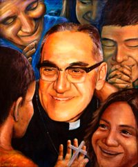 "A mural of Salvadoran Archbishop Oscar Romero is seen in 2015. Blessed Oscar Romero's martyrdom, ""the holy sacrifice of his life,"" during his celebration of the ""holy sacrifice"" of the Mass holds a powerful lesson for Catholics, Bishop John Barres of Rockville Centre, N.Y., said in a new pastoral on the life and ministry of the soon-to-be saint."