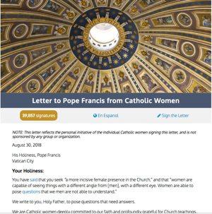 Screenshot of the open letter published at catholicwomensforum.org