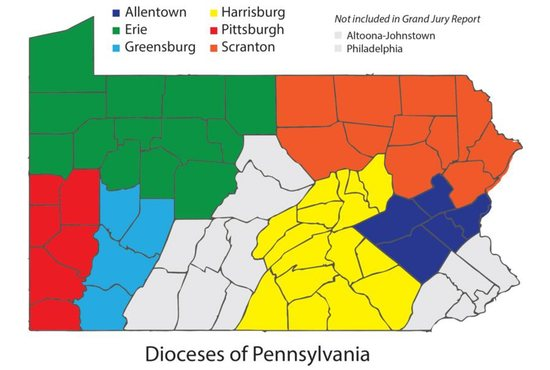 This is a map of Pennsylvania showing the six Catholic dioceses covered by a grand jury report on an investigation of abuse claims made in those dioceses.