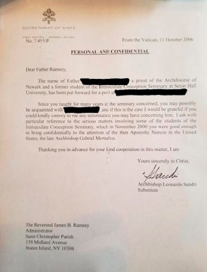 A letter dated Oct. 11, 2006 from Archbishop Leonardo Sandri, then substitute for the Vatican Secretariat of State, to Father Boniface Ramsey references a Nov. 2000 letter Father Ramsey had written to Archbishop Gabriel Montalvo, Vatican nuncio to the United States, warning about sexual abuse committed by Archbishop Theodore McCarrick.