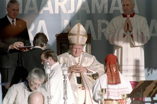 Pope John Paul II celebrates Mass in 1993 in Tallinn, Estonia. Pope Francis will make the same three-nation visit — Lithuania, Latvia and Estonia — Sept. 22-25, stopping at a number of the same places as his saint-predecessor.