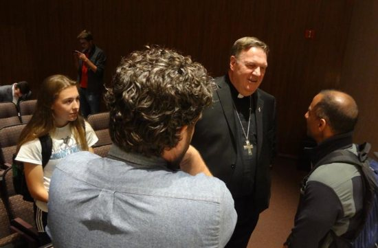 "Cardinal Tobin addressed U.S. attitudes toward immigrants and, responding to questions afterward, said he saw the Holy Spirit at work in the abuse crisis, ""like a hurricane"" smashing structures."