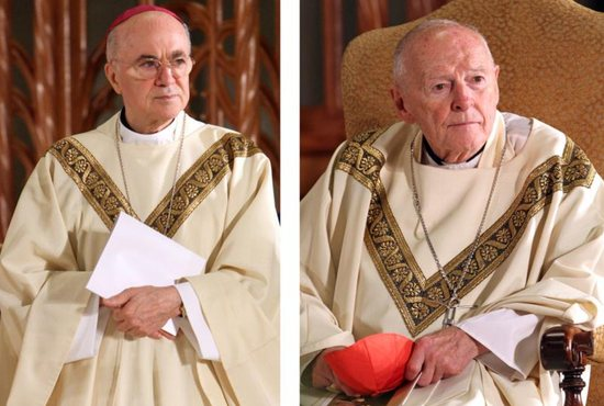 Archbishop Carlo Maria Vigano, then nuncio to the United States, and then-Cardinal Theodore McCarrick of Washington, are seen in a combination photo during the beatification Mass of Blessed Miriam Teresa Demjanovich at the Cathedral Basilica of the Sacred Heart in Newark, N.J., Oct. 4, 2014