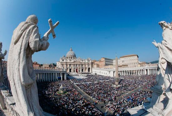 Pope Francis celebrates the canonization Mass for seven new saints in St. Peter's Square at the Vatican Oct. 14.